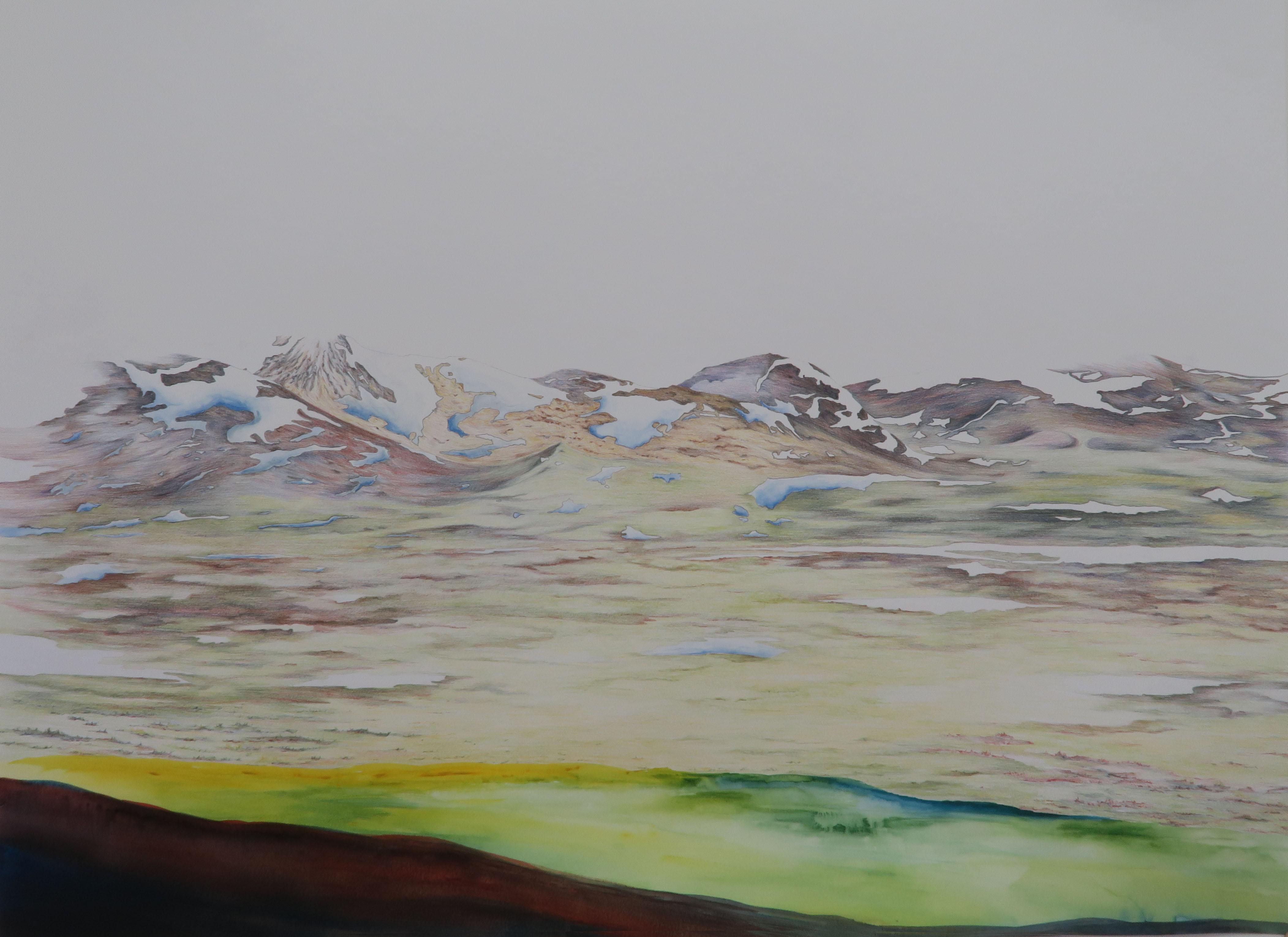 Jotunheimen 2 2017, Potlood en aquarel op papier, 88x67 cm