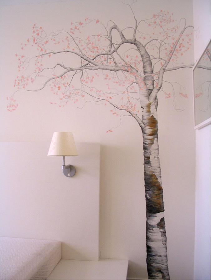 Bloesem op muur